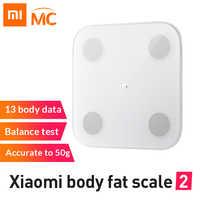 Nowa oryginalna inteligentna waga do pomiaru tkanki tłuszczowej Xiao mi mi 2 z aplikacją mi fit i analiza składu ciała z ukrytym wyświetlaczem LED skala tłuszczu