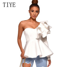 TIYE Sexy One Shoulder Long Sleeve Peplum Knot Belted Top Women Summer Solid Ruffle Elegant Casual Hollow Out Top Femme T-shirts pearl beading knot front ruffle top