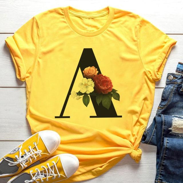 Summer 26 English Alphabet Print Tshirt Fashion Harajuku Casual Pink Tops Tee Women Couples Lovers Female T Shirt,Drop Ship|T-Shirts|   -