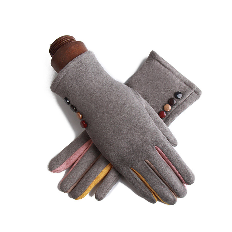 Winter Female Single Layer Warm Cashmere Full Finger Button Cycling Mittens Women Suede Leather Touch Screen Driving Gloves J23