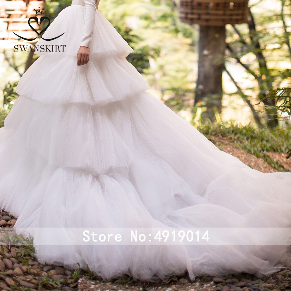 Image 5 - Luxury Tulle Ball gown Wedding Dress Swanskirt  I124 Long Sleeve Backless Bridal Gown customized Plus Size vestido de noivaWedding Dresses   -