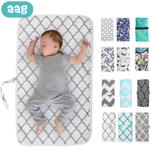 AAG Waterproof Baby Diaper Changing Mat Cotton Washable Newborn Changing Station Urine Mat Foldable Printed Baby Diaper Pad
