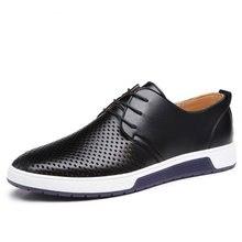 Мужская повседневная обувь кожаная Летняя дышащая с отверстиями