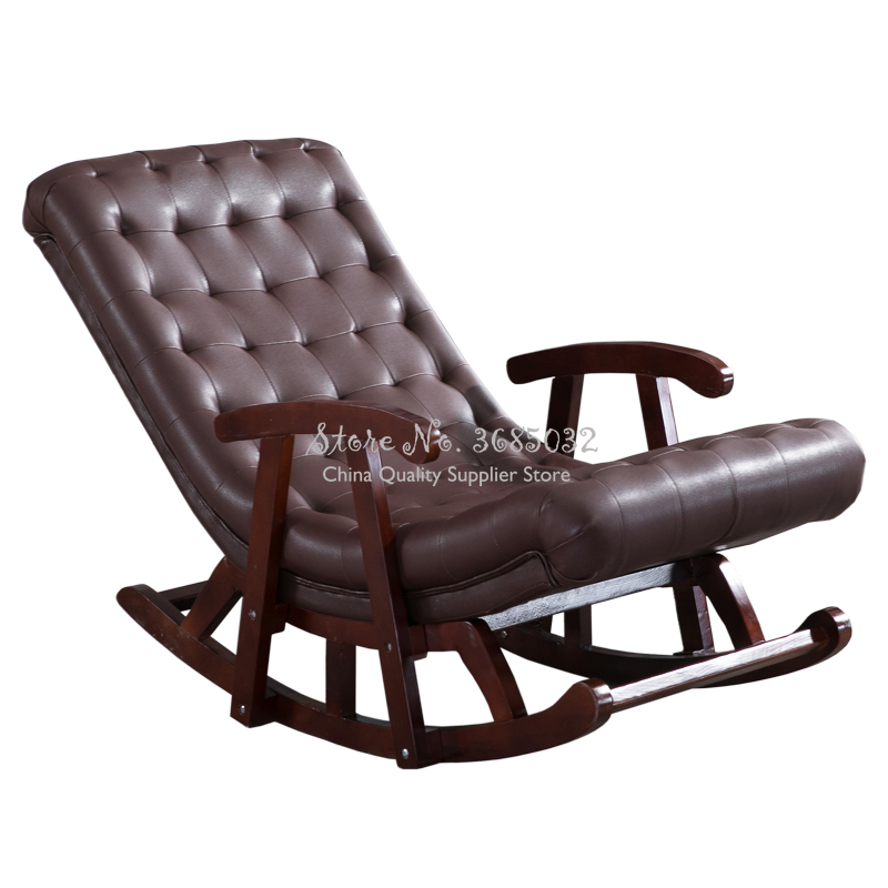 Customized Nordic Rocking Chair With Armrest Leather/ Cotton Fiber Lounge Chair Lazy Sofa Single Nap European Leisure Chair