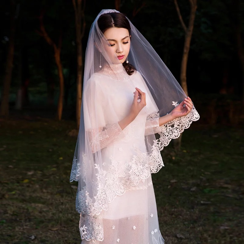 2019 Short Wedding Lace Veil One Layer Without Comb 150CM Accessories