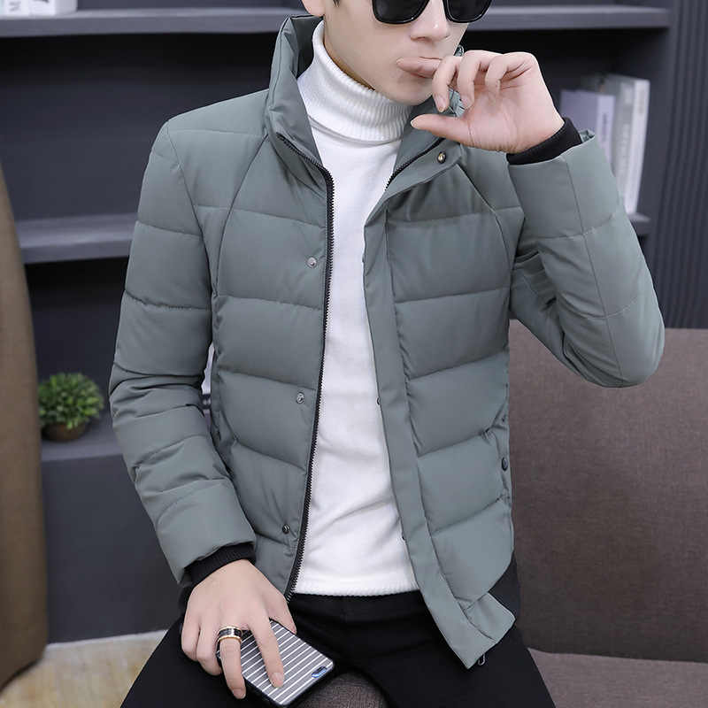 Winter MEN'S Wear Long Sleeve Stand Collar Solid Color Thick Cotton yi inflooring Teenager Korean-style Slim Fit Men Cool Fashio