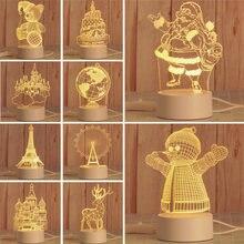 Акриловый неоновый светильник с Санта Клаусом 3d стерео ночник