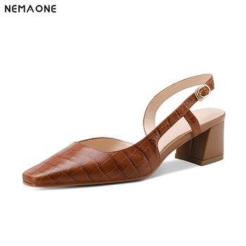 2020 New Women Fashion Retro Square Toe Women Pumps Genuine Leather Slingbacks Square Heel Women Shoes Ladies Summer Party Shoes