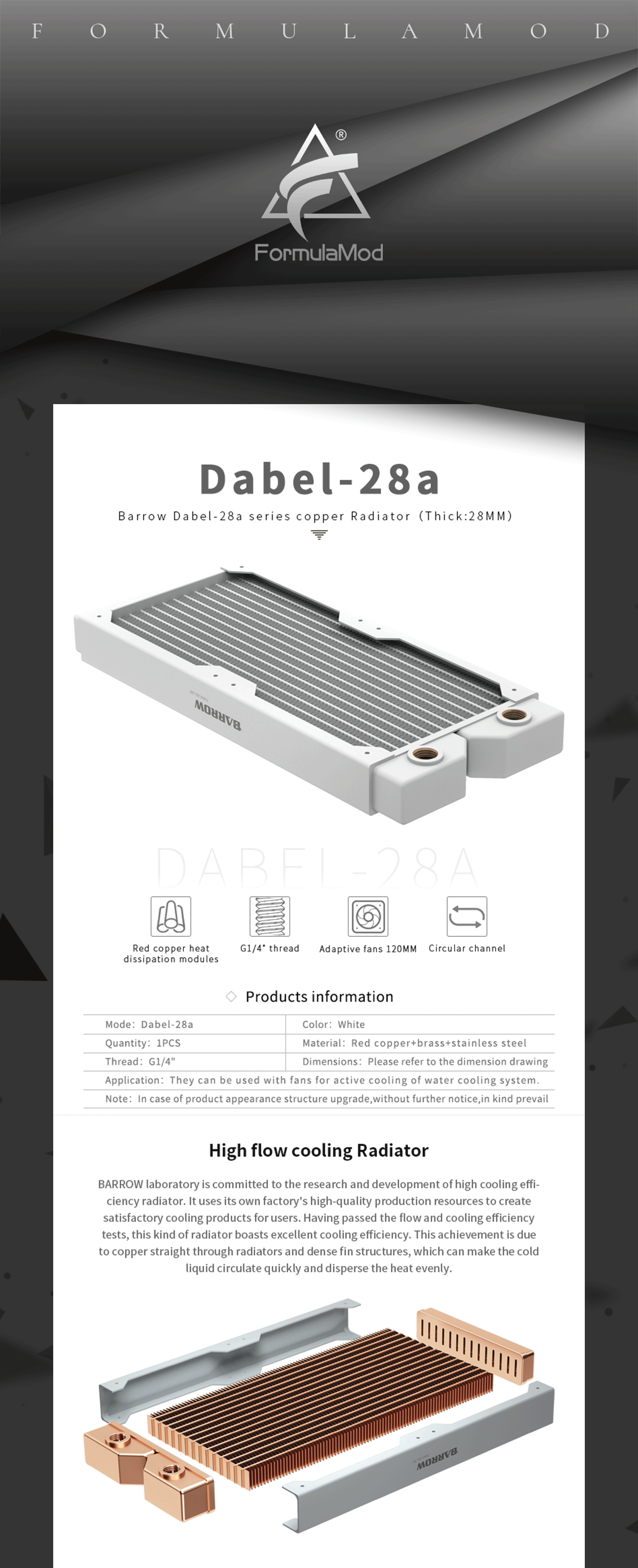"""Barrow Radiator Dabel-28a 240/360 Copper G1/4"""" Thread White 240MM 360MM Computer Radiator Water Cooling"""