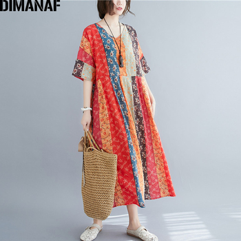 DIMANAF Summer Oversize Long Dress Women Clothing Print Floral Sundress Beach Elegant Lady Vestido Cotton Casual Loose Plus Size 2