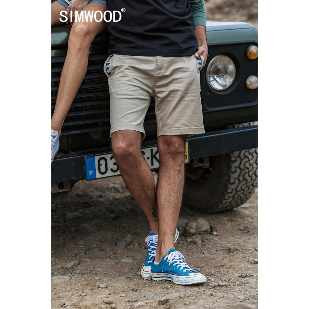 SIMWOOD 2020 Summer New Bohemian Emborided Shorts Men Enzyme Washed 100% Cotton Casual Knee Length Plus Size Shorts  SJ170152