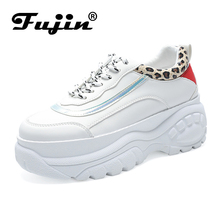 Fujin Sneakers 2019 Spring New Bright Wear-resistant Tire Bottom Casual White Shoes Ladies Flats Women