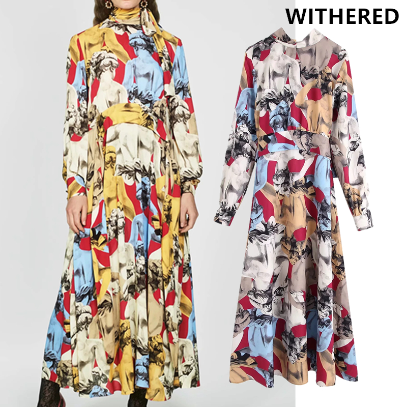 Withered England Vintage Court Geometric Printing Party Long Dress Women Vestidos Vestidos De Fiesta De Noche Maxi Dress Blazer