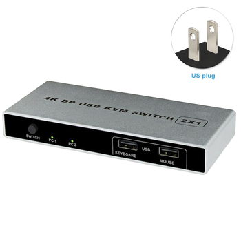Controller 4K 60Hz Dual Port 1 Out KVM Switch Displayport HDMI USB Monitor Connection Stable Computer VGA Mouse Support