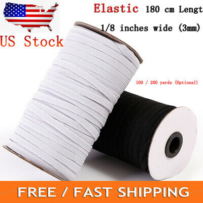 """Elastic 1/8"""" 1/4"""" Width ~ 3mm 6mm Braided Elastic Band Cord Knit Band Sewing 100/200Yards US Stock"""