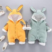 Autumn and winter baby one-piece clothes plus velvet thickening newborn warm casual romper baby sports one-piece cartoon rabbit