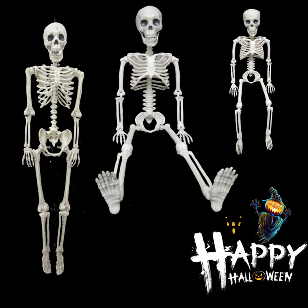 <font><b>Poseable</b></font> Full Life Size Human skull <font><b>Skeleton</b></font> Halloween Decoration Party Prop NEW image