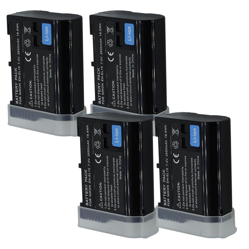 Batterie de caméra pour Nikon DSLR D600 D610 D800 D800E D810 D7000 D7100 D7200 L15, EN-EL15 ENEL15 EN-EL15A EN EL15A
