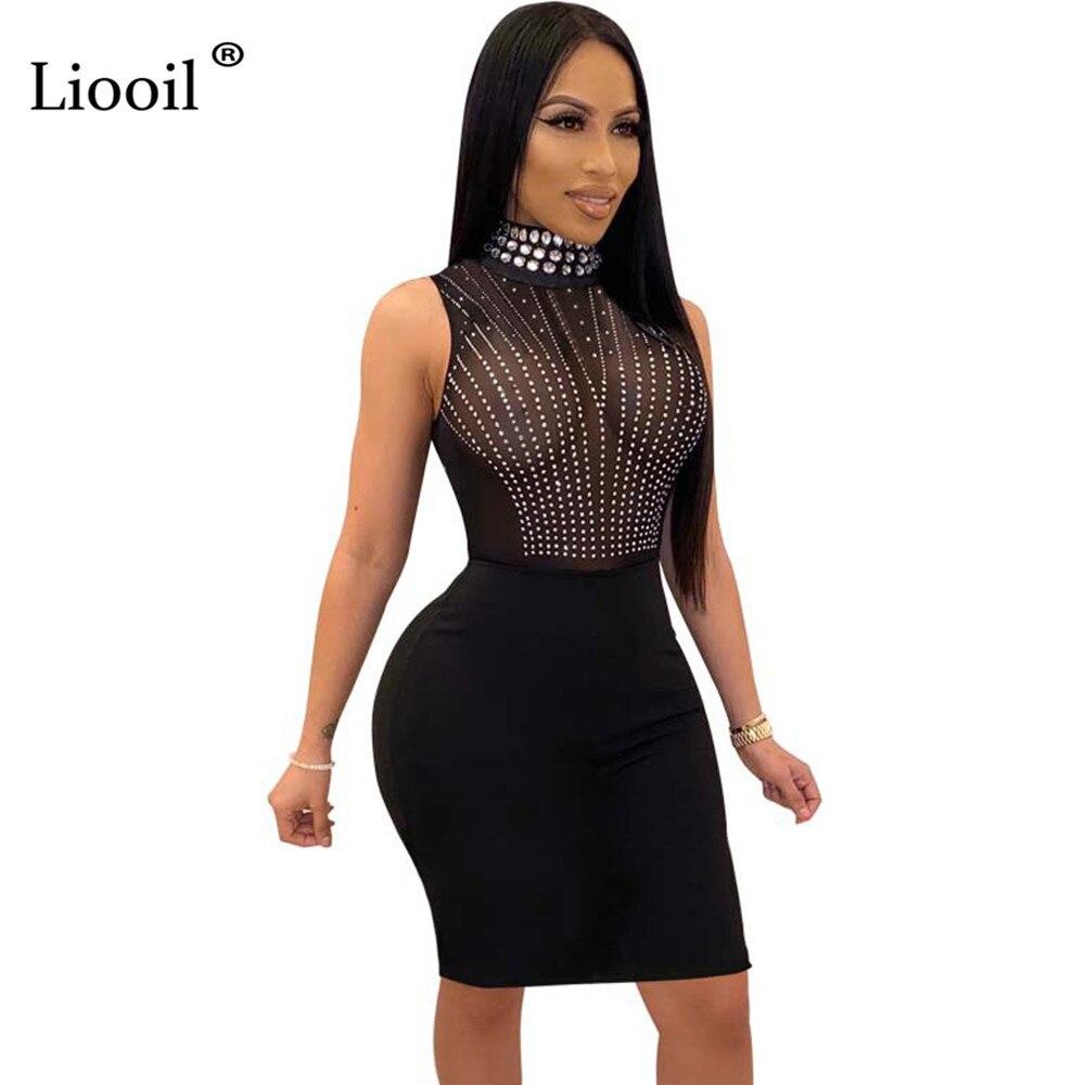 Liooil Rhinestone Sheer Mesh Sexy Bodycon Midi Dress 2020 Turtleneck See Throught Black Tight Dresses Woman Party Night Club Out