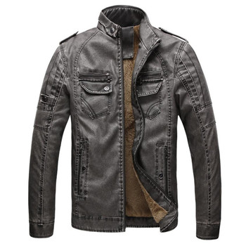 PU Leather Jacket Men Autumn And Winter Leather Jacket Warm Plus Velvet Coat Leisure Men Jacket Motorcycle Windproof Coat