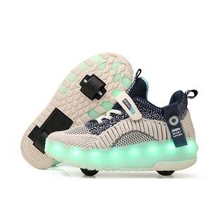 Один два колеса usb зарядка Мода для девочек мальчиков светодиодный светильник роликовые коньки обувь для детей Детские кроссовки с колесам...