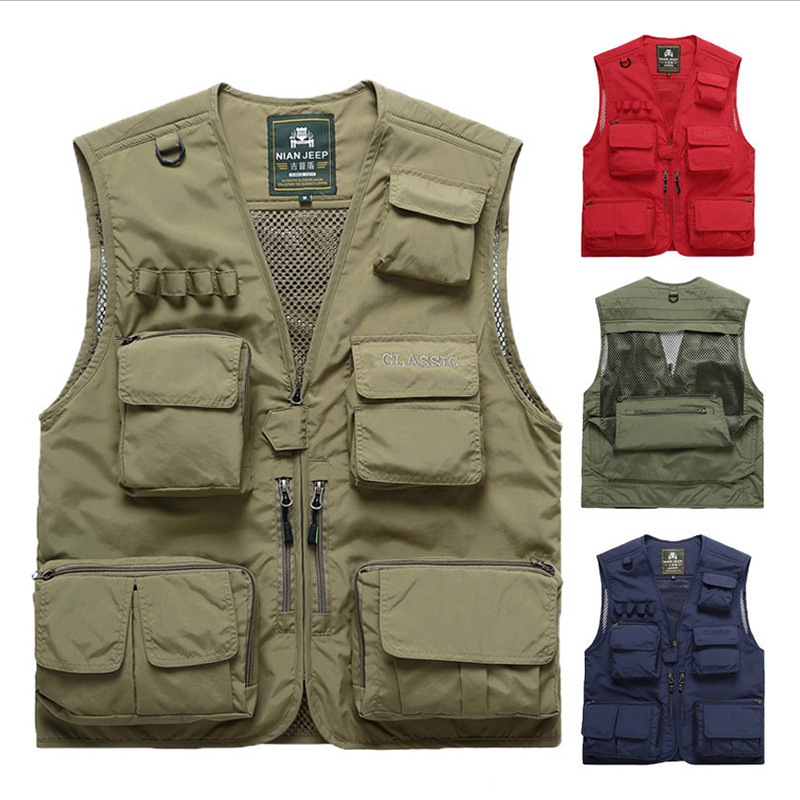 100% True Men's Casual Outdoor Fishing Climbing Vest With 15 Pockets Made With Lightweight Mesh Fabric For Travelers Hiking And Hunting
