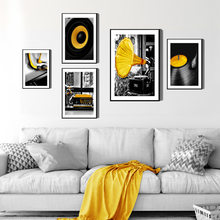 Nordic Canvas Painting Home Decor Wall Art Print Yellow Music Creative Picture Bedroom Living Room Poster Backdrop