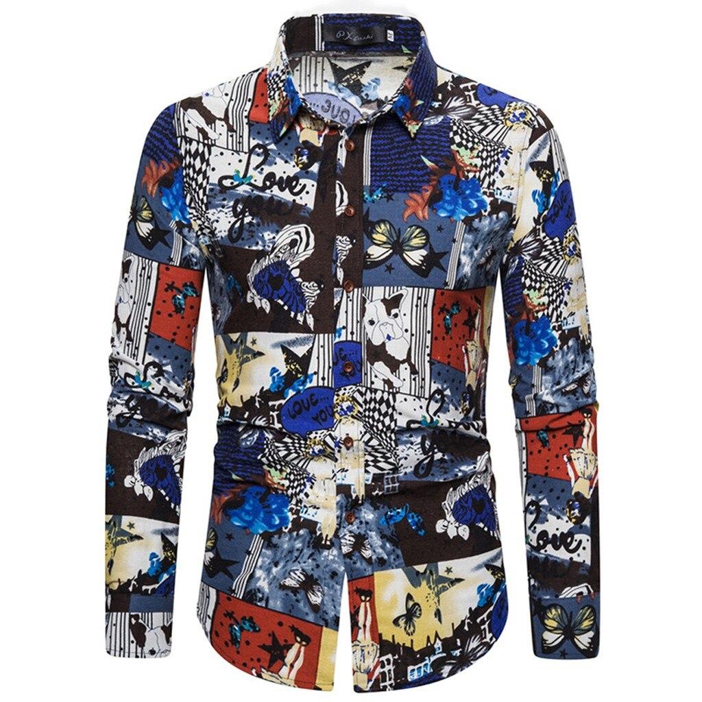 2019 Men's Breathable Shirt Men's Caual Print Floral Shirt Hawaiian Long Sleeve Turn Down Collar Shirts Tops Blouse M-5XL 10.28