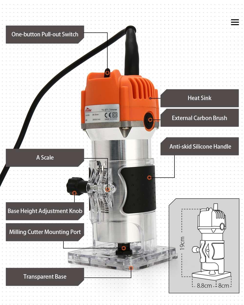 Topshak TS-ET1 800w aparador elétrico de madeira