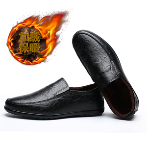 Image 5 - 2019 Men Winter Warm Plush Leather Party Dress shoes Breathable Male Fashion Loafers Black brown business leisure Casual Shoes