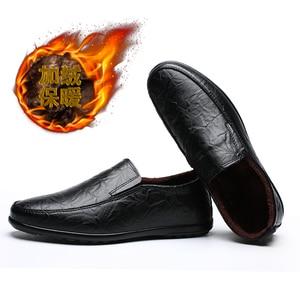 Image 5 - 2019 hommes hiver chaud en peluche en cuir robe de soirée chaussures respirant mâle mode mocassins noir marron affaires loisirs chaussures décontractées
