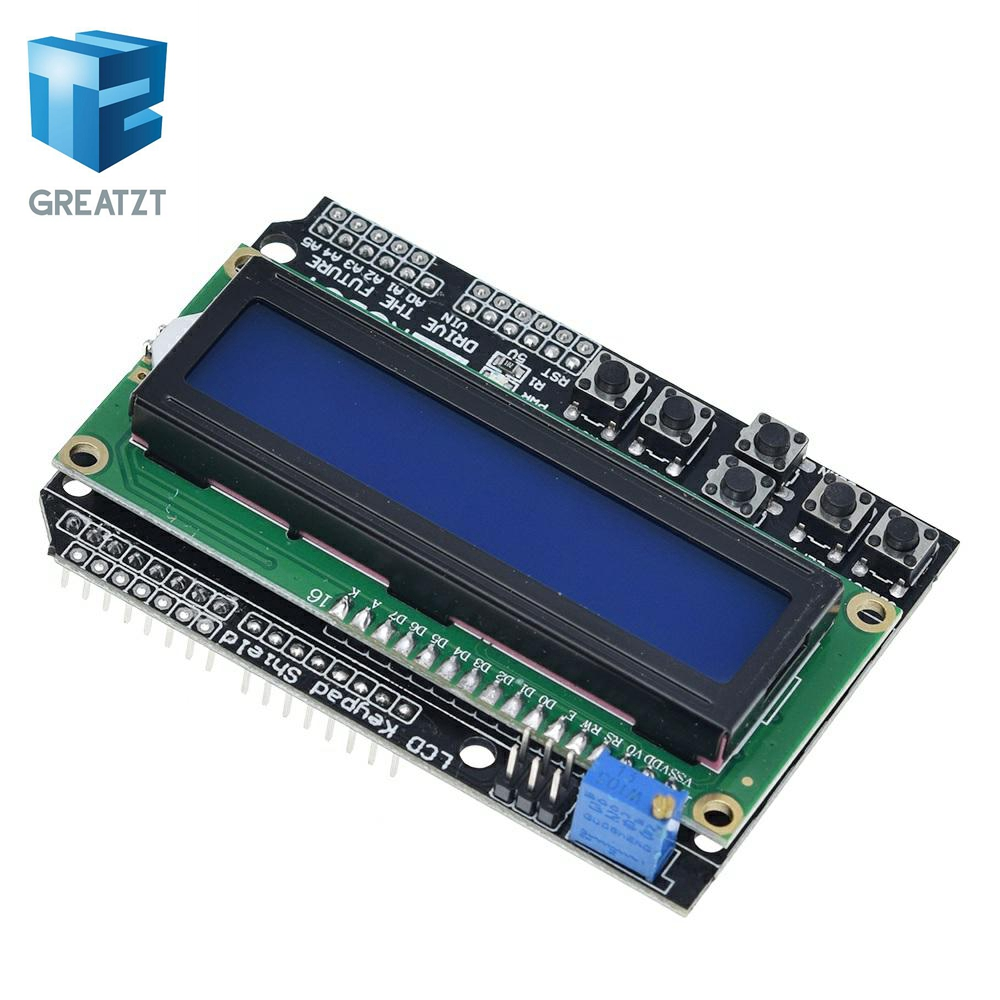 GREATZT 1PCS  LCD Keypad Shield LCD1602 LCD 1602 Module Display For Arduino ATMEGA328 ATMEGA2560 Raspberry Pi UNO Blue Screen