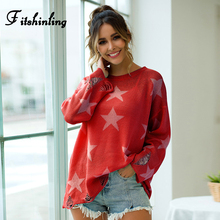 Fitshinling Star Print Ripped Pullover Sweater Female Boho Holiday Pull Femme Vintage Long Sleeve Slim Sweaters For Women Jumper frilled open shoulder ripped jumper