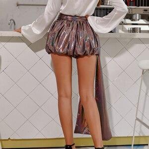 Image 2 - Женские штаны фонарики JillPeri, повседневные шорты кофейного цвета металлик, вечерние короткие брюки для отпуска и клуба