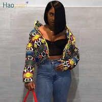 HAOYUAN Snake Skin Print Winter Jacket Women Plus Size Clothing Down Bubble Coat Warm Thick Parka Outerwear Crop Puffer Jacket