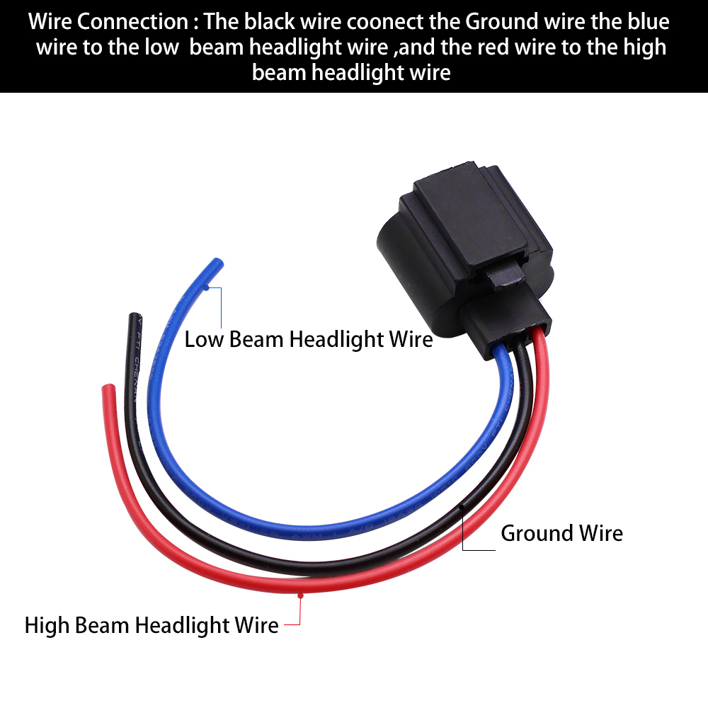 YUNPICAR H13 9008 H13LL Extension Wire Socket Adapter Wiring Harness on
