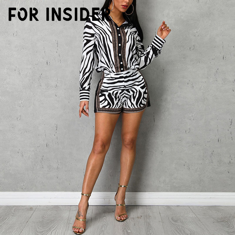 For Insider Zebra striped black white sexy two pieces set Summer 2 piece suits women outfits Long sleeve blouse shirt shorts in Women 39 s Sets from Women 39 s Clothing
