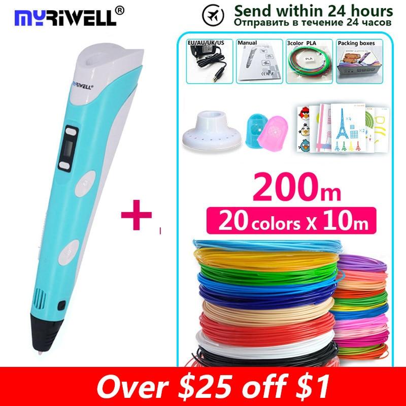 Myriwell 3d printer pen 3d pen printer,display LED,ABS/PLA Filamento,3d caneta 3d criativa,impressora de caneta 3 d pen-3d doodle criativa,Melhor oferta para crianças,3d pens 3d printing pen 3d model
