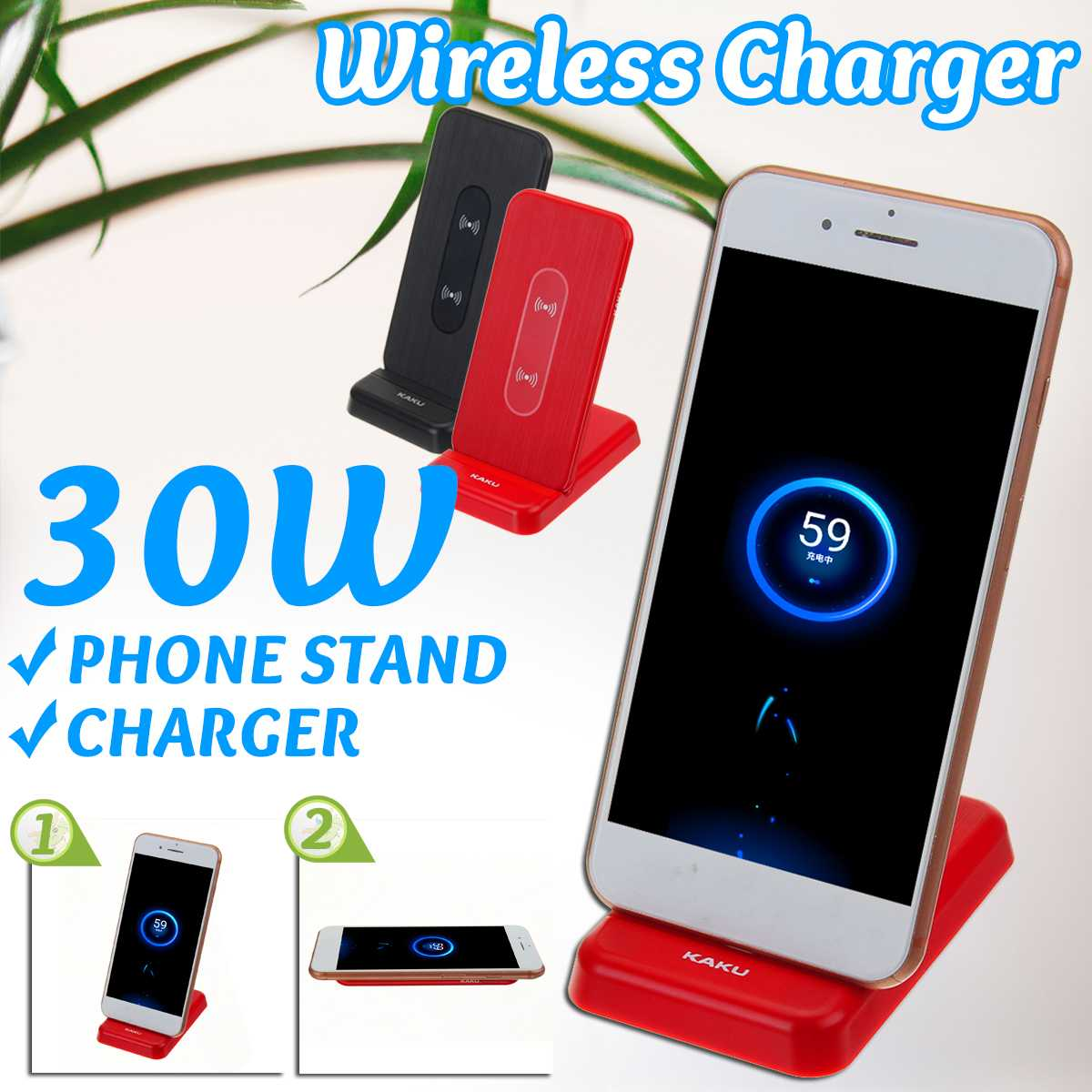 30W Qi Wireless Charger Fast Qi Wireless Charger Dock Stand For Samsung Xiaomi Huawei for best Gift