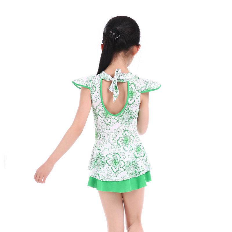 Drop Love For Water New Style Big Boy Chinese Style Cheongsam Style Tour Bathing Suit Princess Shoulder Back Hollow Out Girls KI