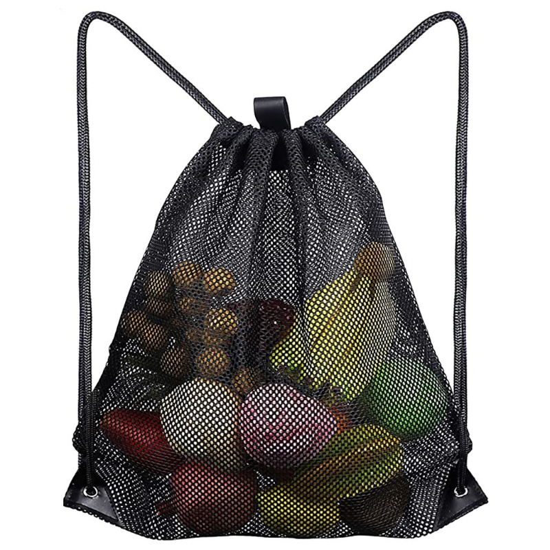 Heavy Duty Mesh Drawstring Bag, Sport Equipment Storage Bag for Beach, Swimming