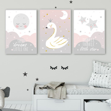 Nursery Poster Print Cartoon Posters And Prints Swan Stars Moon Canvas Art Print Nordico Wall Pictures For Baby Girl Room Decor майка борцовка print bar girl and moon