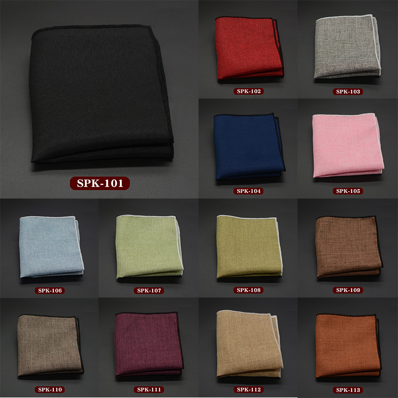 Luxury Men's Handkerchief Solid Printed Hankies Polyester Hanky Business Pocket Square Chest Towel 23*23CM