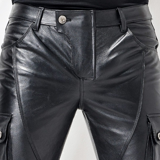 Euro brand new motorcycle men's leather pants pants leather bag leather cutting style fashion men's pencil pants 3