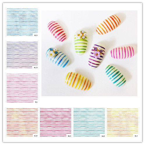 Nail Sticker Watermark Nail Sticker Nail Polish Stickers Flower Jewelry Rainbow Lines Gold And Silver Thread