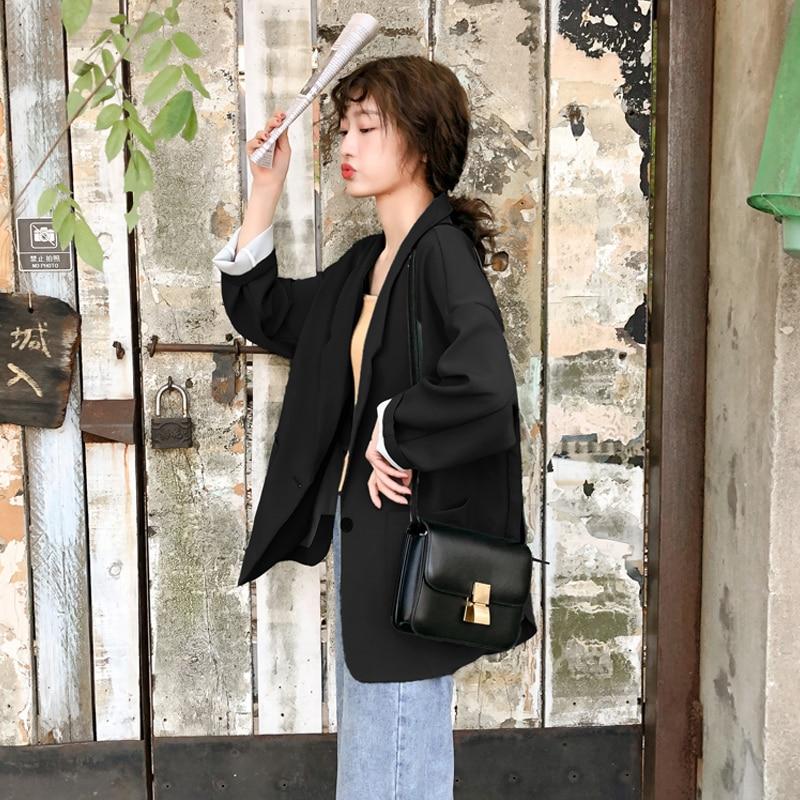 Korean Casual Ladies Blazer Loose Solid Beige Stylish Suit Jacket Long Sleeve Chamaras Mujer Women Blazer Spring Autumn MM60NXZ