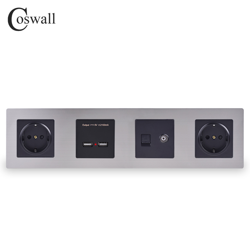 COSWALL Silver Stainless Steel Panel Black Double...