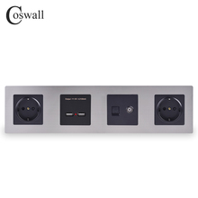 COSWALL Silver Stainless Steel Panel Black Double Wall EU Socket + Dual USB Charging Port + TV Jack with CAT5E Internet Port