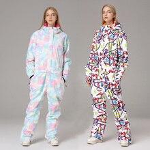 Зимние женские лыжные комбинезоны с капюшоном, водонепроницаемые спортивные женские лыжные комбинезоны, уличные теплые женские зимние комбинезоны с принтом, дамский костюм