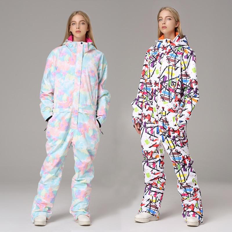 2019 Winter Hoodie Women Ski Overalls Waterproof Sport Female Skiing Jumpsuit Outdoor Warm Woman Snowsuit Print Ladies Costume